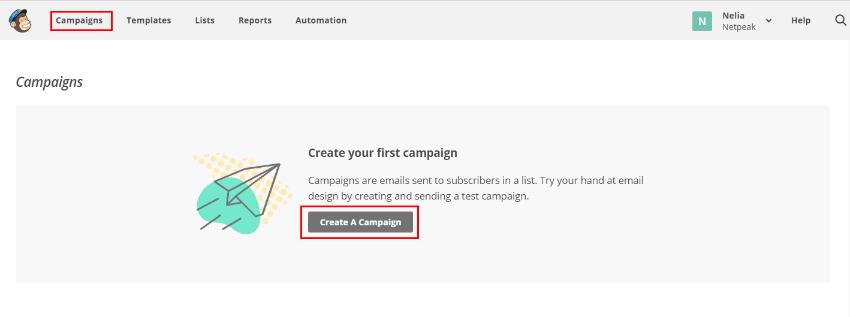 Как создать новую кампанию в MailChimp