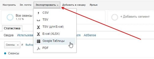 Экспорт данных из Google Analytics