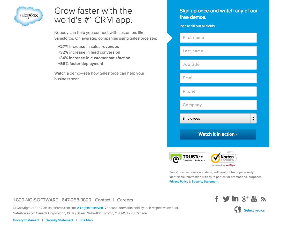 Посадочная страница Salesforce