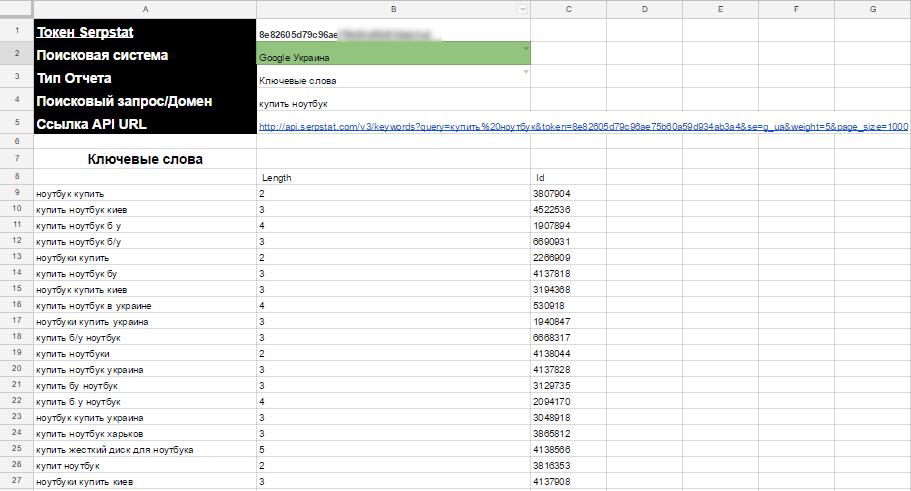 Далее нужно заполнить поле «Ключ API», выбрать тип отчета и страницу, а все остальное с помощью формул таблиц Google мы динамически подставляем в ссылку