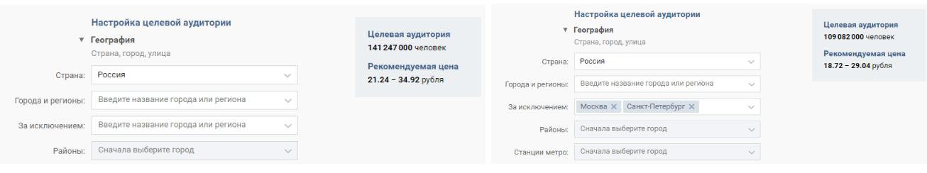 Если вы хотите сделать рекламу на всю Россию, выносите Москву и Санкт-Петербург в отдельный таргетинг, так как аудитория в этих двух городах дороже, чем в других регионах