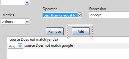 Для того, чтобы добавить фильтр после выбора нужного параметра (dimension) или показателя (metrics), выбора оператора (operators) и введенного значения (expression), необходимо нажать кнопку Add (добавить)