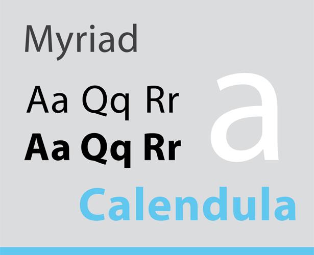Sans Serif typefaces are Calibri, Myriad, Verdana.