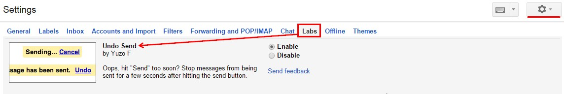 Undo Send feature in the Labs tab in Gmail settings