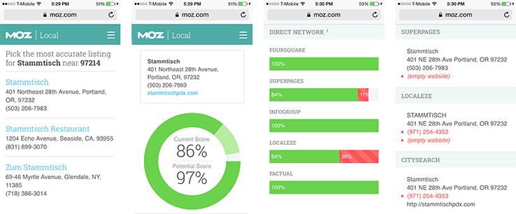 MOZ Local interface