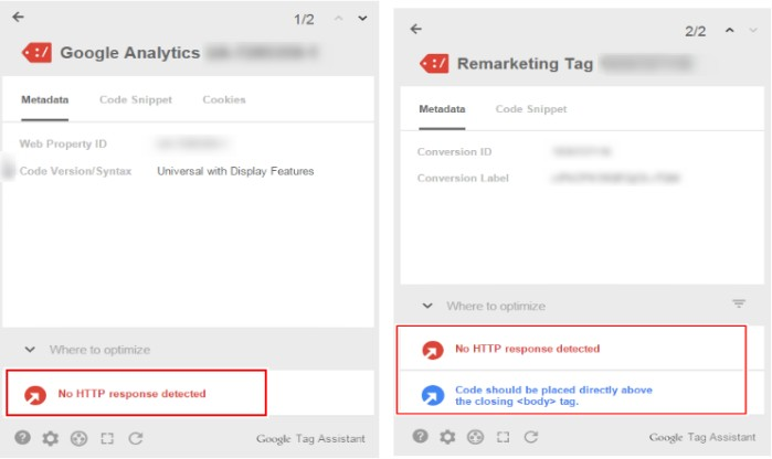 We found that the Google Analytics and Google AdWords remarketing codes had not been properly, and this caused difficulties with the collection and flow of data regarding clicks on ads and filling in the remarketing list