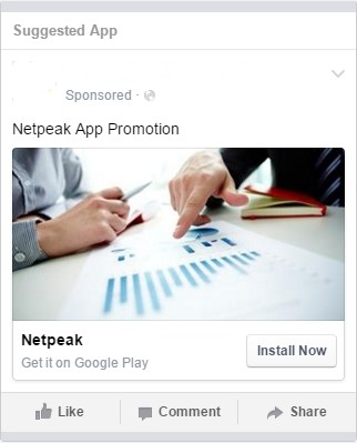 Example of application's banner ad on Facebook