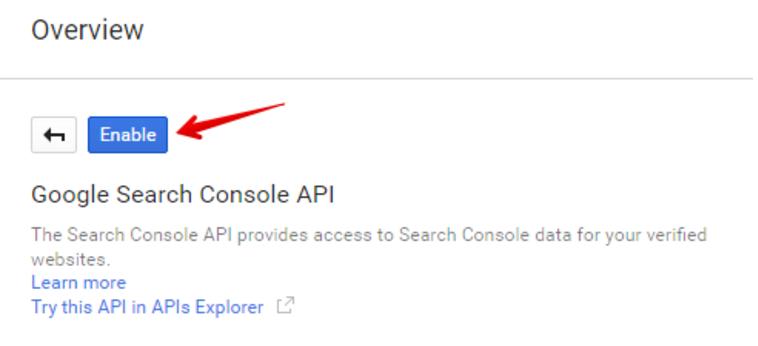 Въведете в полето за търсене Search Console API, кликнете върху името, а след това върху «Enable».