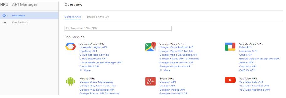 Намерете API мениджъра в менюто
