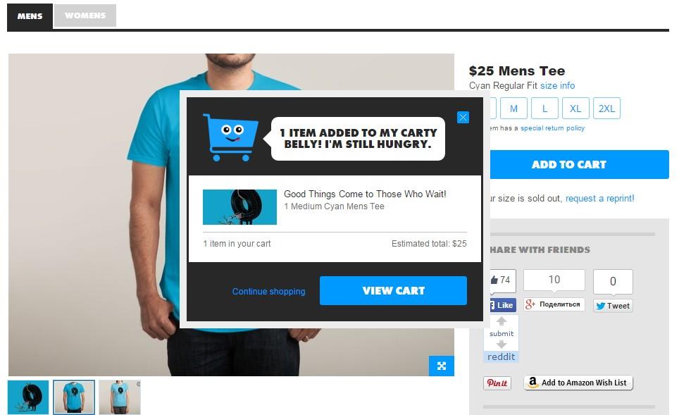 Създателите на сайта ThreadLess са поместили елемент микро UX към последния стадий на фунията за продажби