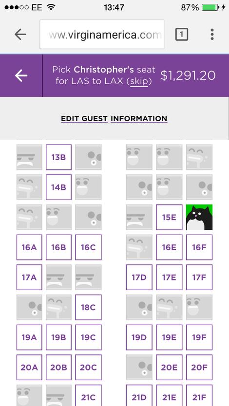При резервацията на места може да изберете индивидуален аватар и едновременно с това да оцените чувството на хумор на бъдещите си съседи в самолета