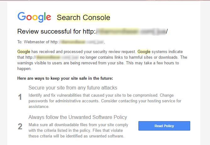 Съобщение от Google Search Console за това, че сайтът вече не съдържа линкове със злонамерен софтуер.