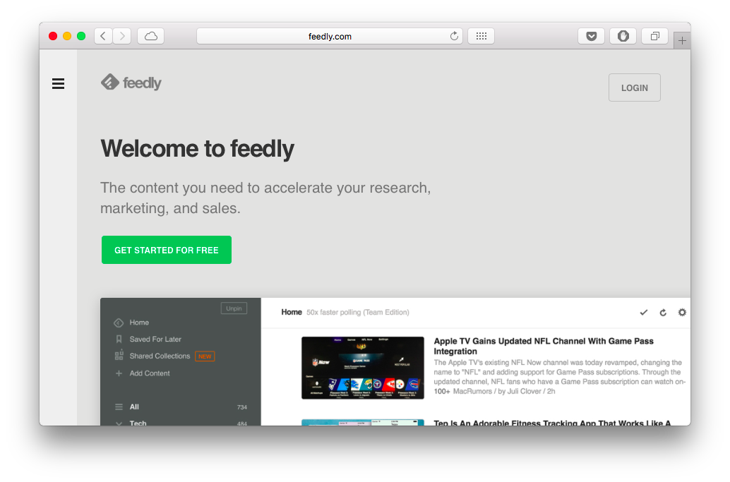 Заходим на feedly.com, нажимаем Get started for free