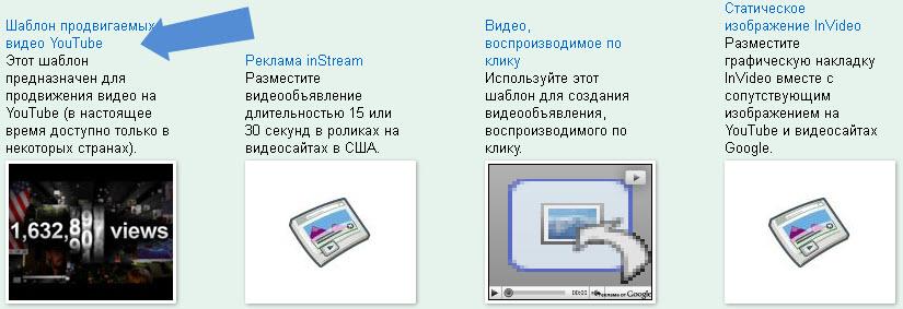Шаблон продвигаемых видео YouTube