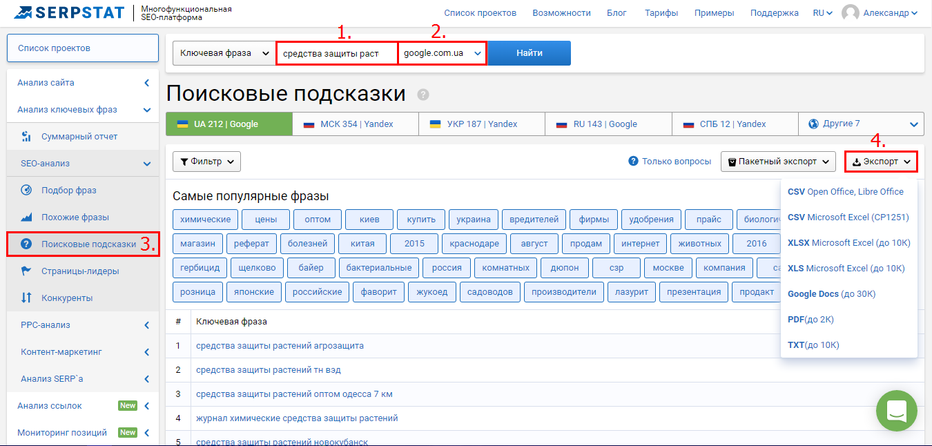 Как найти поисковые подсказки в Serpstat