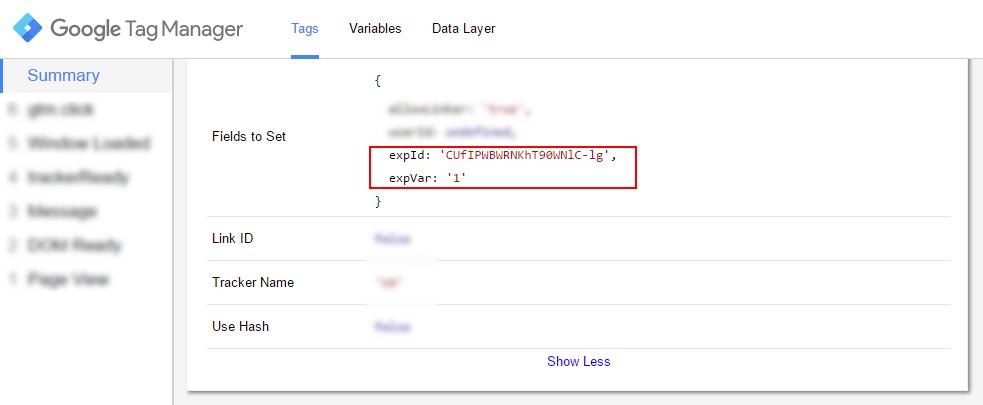 Проверка в отладчике GTM подробных данных тега просмотра страниц