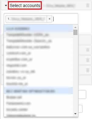 После связки Supermetrics и AdWords переходим в меню Select accounts, и, используя выпадающий список, выбираем нужный аккаунт AdWords