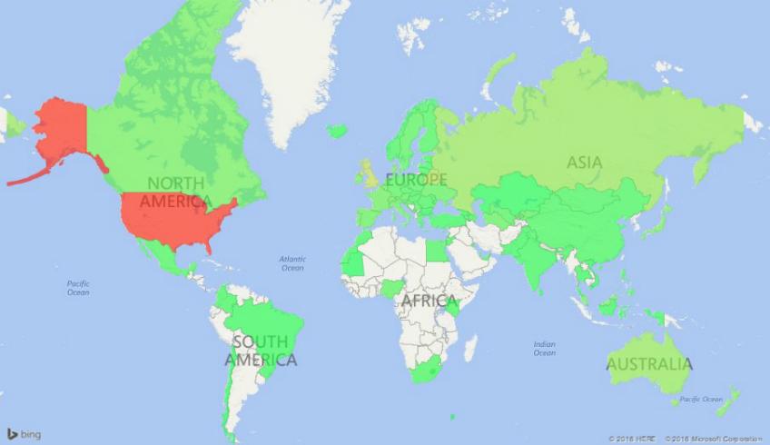 Карта стоимости клика в поисковой сети