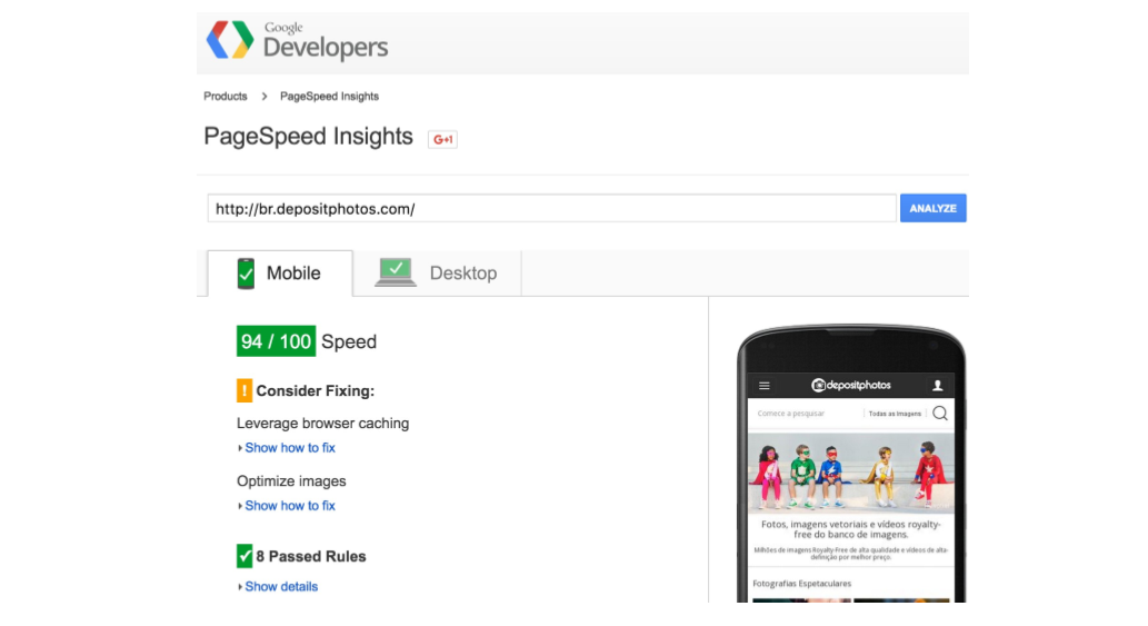 После выхода на рынок Бразилии Depositphotos начали еще активнее работать с Google Page Speed Insights