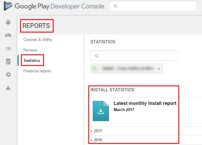 Mobile App Отчет в Google Play Developers Console