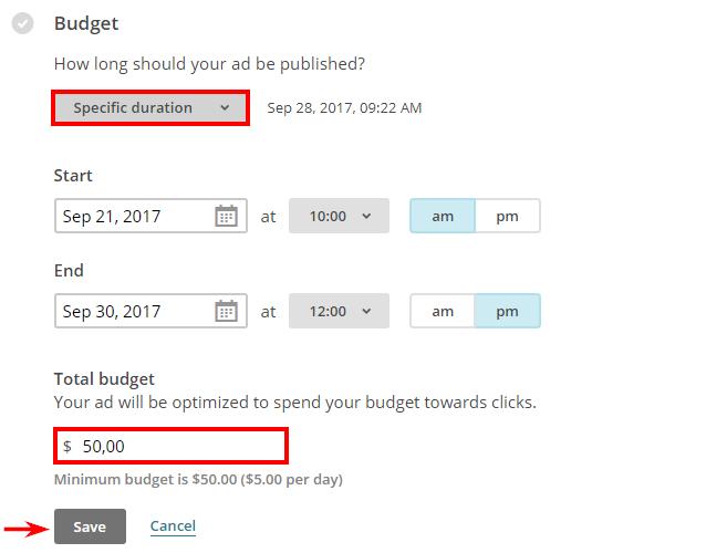 """Можете ръчно да дефинирате диапазон от време като изберете """"Specific duration"""" от падащото меню"""