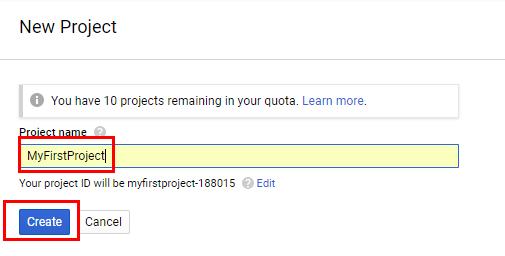 Накрая, дайте име на проекта, определете настройки за известия и още веднъж се съгласете с условията за използване на платформата