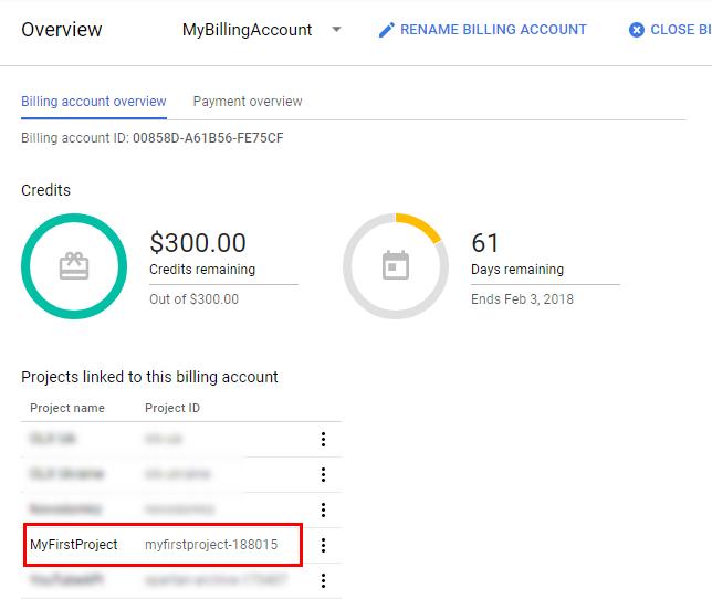 Сега проектът е свързан към току-що създадения платежен акаунт
