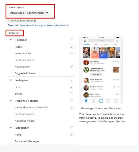 ри ръчното избиране на местата, на които да се показват рекламите ви, можете да избирате различни платформи и тип на устройствата