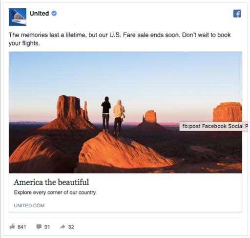реклама във Facebook на американска авио-компания - United Airlines
