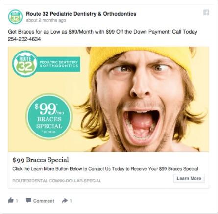 Реклама на американска клиника, предлагаща ортодонтски услуги