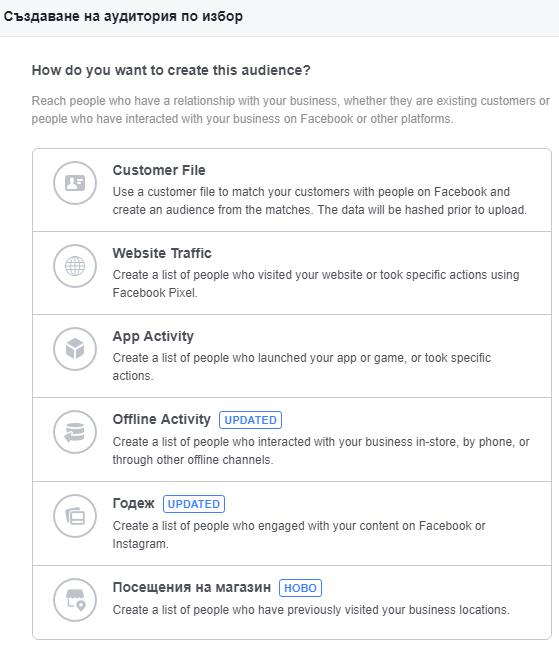 Персонализирани аудитории във Facebook