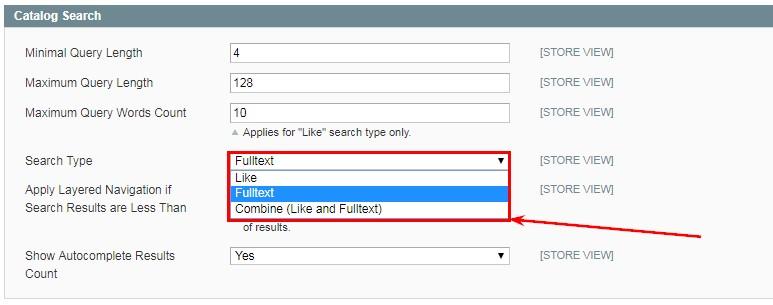 Има три метода на търсене, които са достъпни през администрацията - Like, Fulltext и Combine
