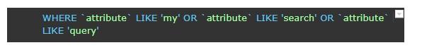 Метод, базиран на SQL LIKE, който разделя заявка в отделни думи.