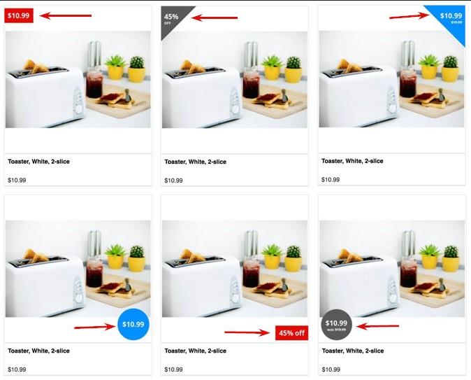 Ето как изглежда тази информация от каталога в различни формати върху продуктовото изображение