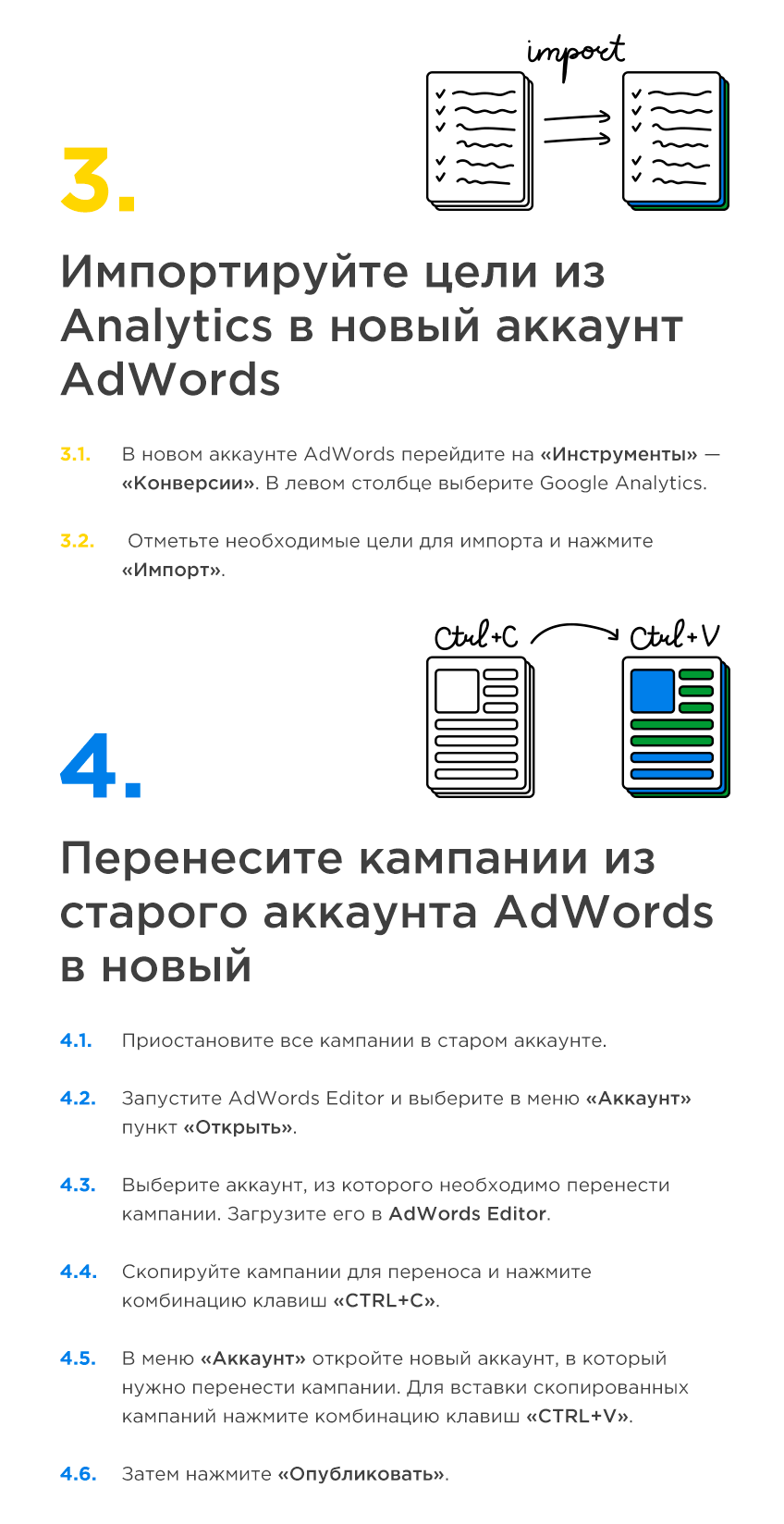 Как перенести кампании из старого аккаунта Google AdWords в новый и сохранить их эффективность — подробный чек-лист