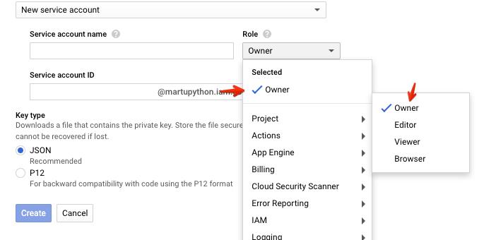 След това въведете някакво име (нещо, което ще е разпознаваемо) в Service account name полето и от Role менюто изберете ProjectOwner