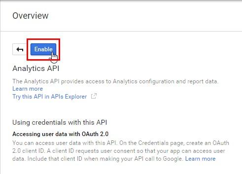 Активируем API