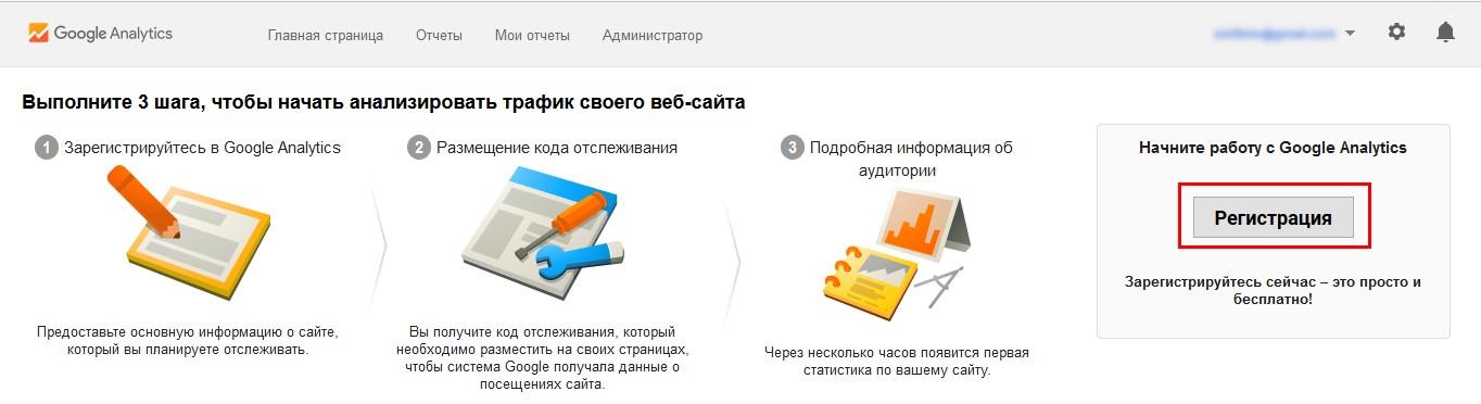 Если у вас еще не добавлен ни один сайт, откроется окно «Начать работу с Google Analytics», в котором нужно нажать на кнопку «Регистрация»
