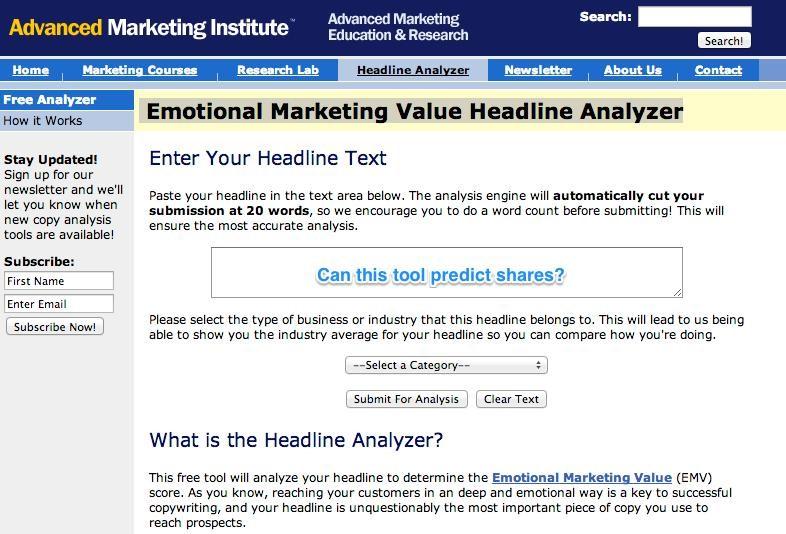Emotional Marketing Value Headline Analyze — бесплатный сервис для поиска привлекательных заголовков.
