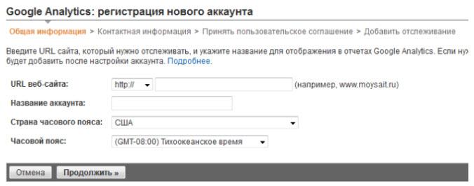 Google Analytics Регистрация нового аккаунта