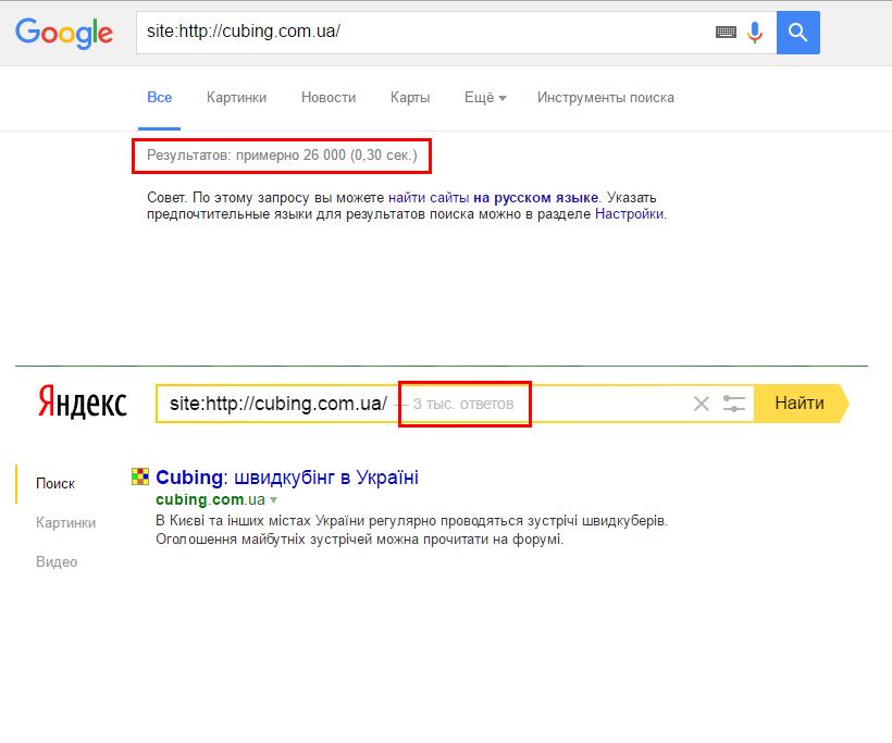 Иногда большая разница между результатами в Google и Яндекс свидетельствует о наличии проблем с сайтом