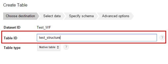 На вкладке «Choose destination» задаем имя таблицы