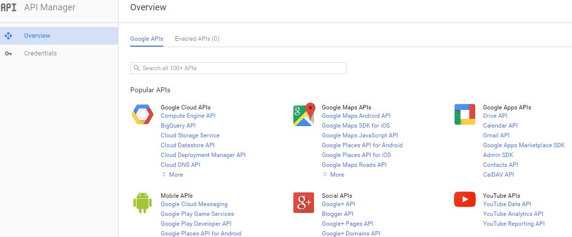 Найдите менеджер API в меню