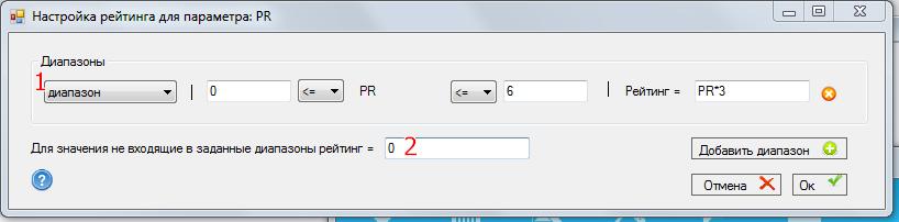 Настройки рейтинга для параметра PR