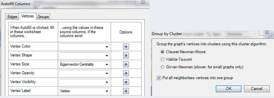 Включаем автозаполнение полей таблицы, чтобы в соответствии с «важностью» менялся размер точки на графике и подписывались имена аккаунтов