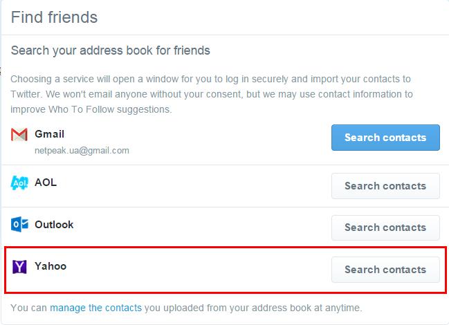 Импортируйте контакты из Yahoo