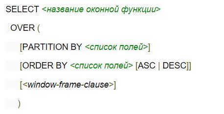 Синтаксис оконной функции