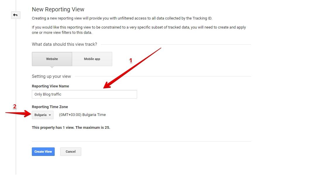 """Създайте Ново View """"Only Blog Traffic"""" като избирате часовата зона"""