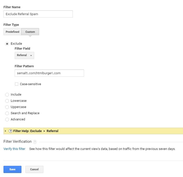 Изключване на referral spam traffic