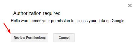 Авторизация в Google Apps Script шаг 1